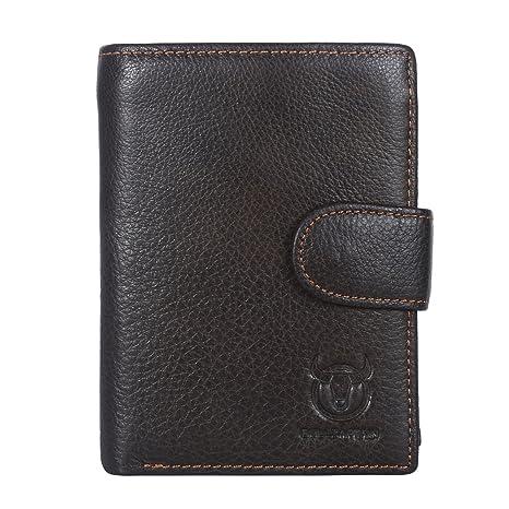 Leathario Billetera Cartera Monedero para Hombres Cuero Original Sujetadora Tarjeta Crédito Identificación Dinero (Marrón 5