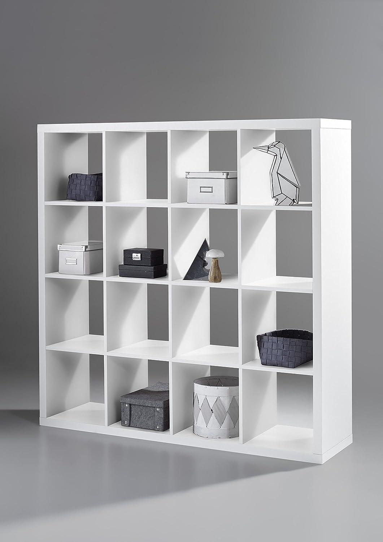 Stella Trading Style 6 Raumteiler B H T 147x 147 x 38cm, Holzdekor, weiß, 147 x 147 x 38 cm