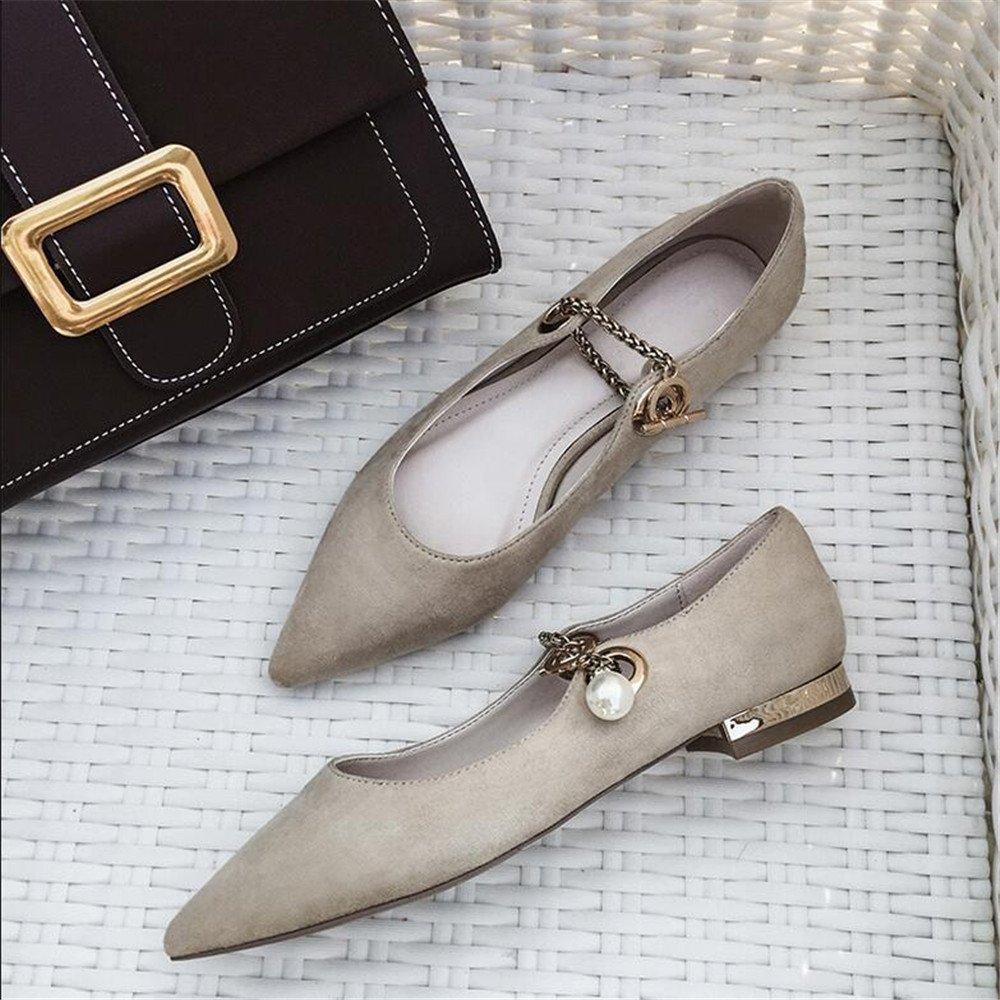 Xue Qiqi Court Schuhe Pointed Flach mit Niedrigen Absätzen Perlen Perlen Absätzen Füße Flachen Mund Schuhe Wild Wild Freizeitschuhe Wildleder, 36, Aprikose - 5d37cd