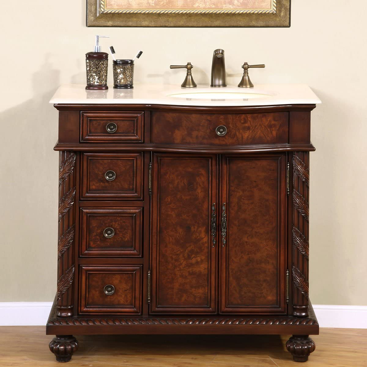 Silkroad Exclusive Marble Top Single Off Center Sink Bathroom Vanity with Cabinet, 36 , Medium Wood
