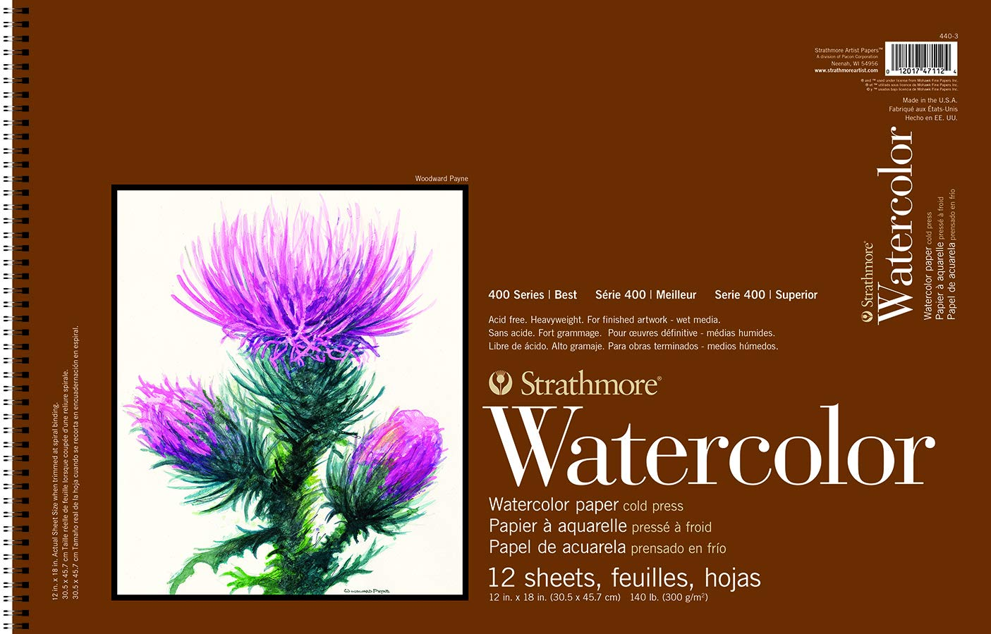 Strathmore 440-3 400 Series Watercolor Cold Press Wire Bound Paper Pad, 12''x18'', 12 Sheets by Strathmore