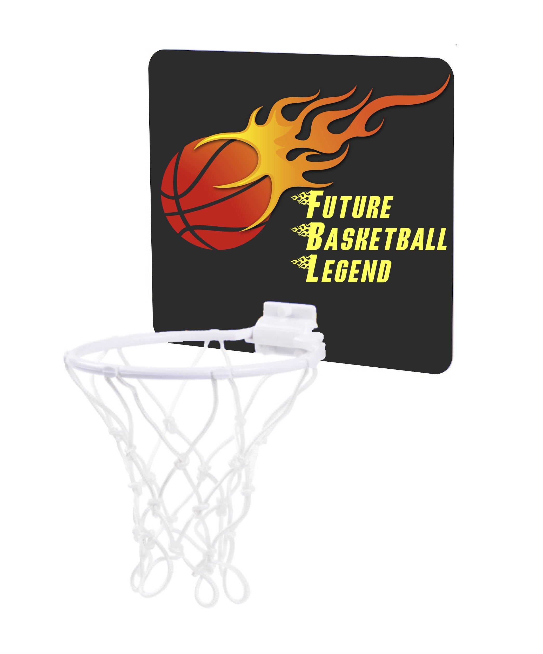 Jacks Outlet Flaming Basketball Design - Future Basketball Legend - Childrens 7.5'' x 9'' Mini Basketball Backboard - Goal with 6'' Hoop