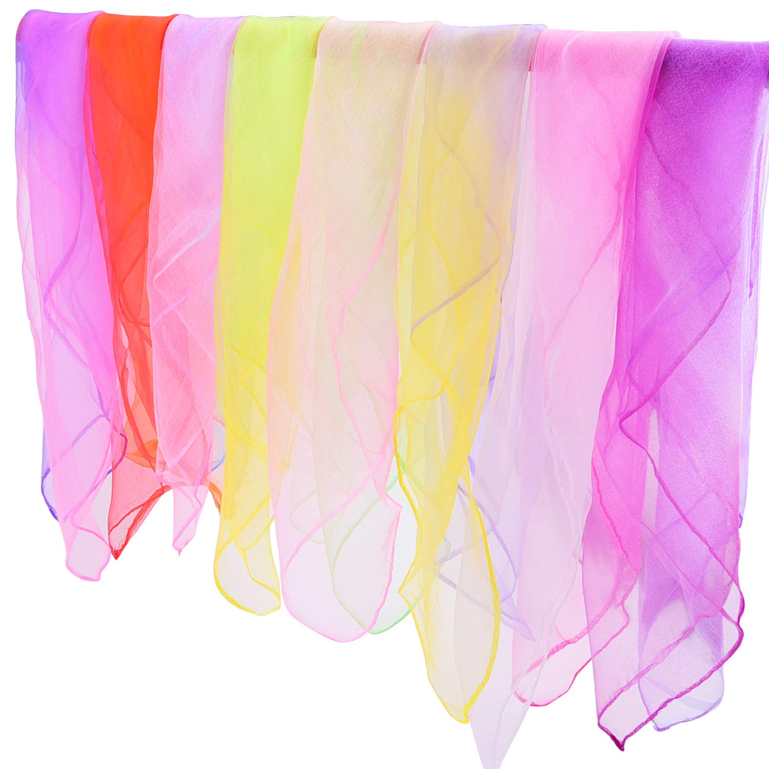 24 by 24 Inches Gradient Colors Square Juggling Silk Magic Performance Props Accessories Hair Neck Bag Waist Wrist Band Scarf Livder 16 Pieces Dance Scarves