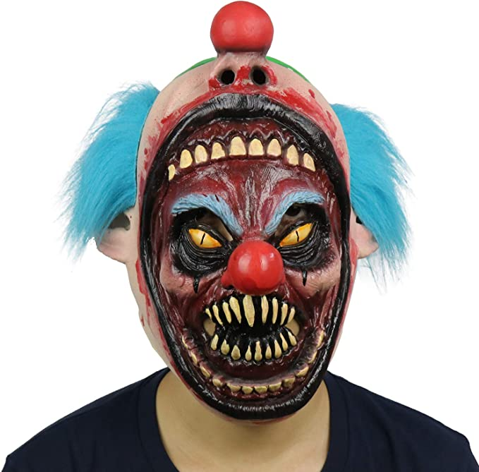 Halloween Latex Bobo Sinister Killer Clown with Green Hair Horror Party Mask