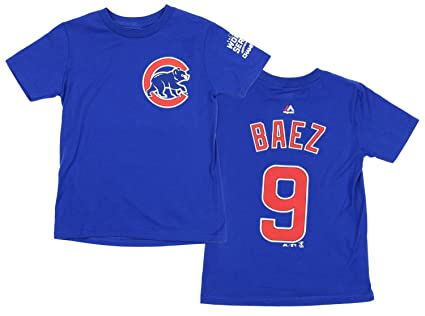 Majestic MLB Boys Youth Chicago Cubs Javier Baez  9 Player T-Shirt (Small 54c3362780b2