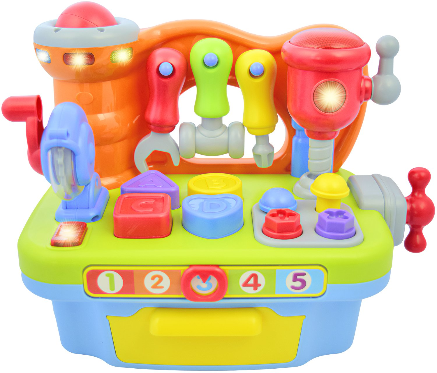 Deluxe Toy Workshop Playset for Kids with Interactive Sounds & Lights | Great Educational Learning Toy for Teaching Colors, Shapes, Numbers, and The Alphabet | Great Gift for Toddler Boys & Girls by CoolToys (Image #4)