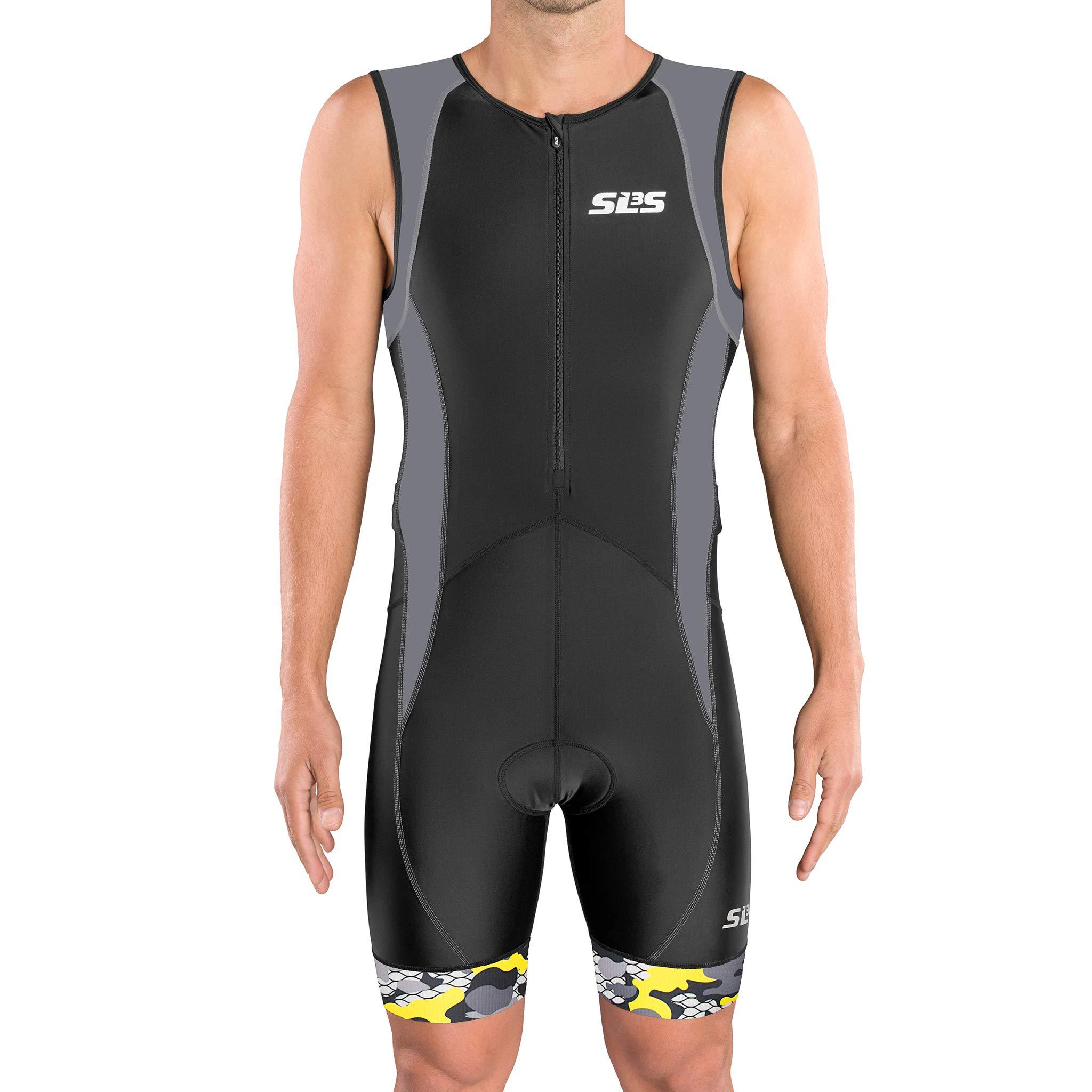 SLS3 Men`s Triathlon Tri Suit FX | Trisuit | 2 Pockets | Soft Custom Chamois | German Designed (Black/Gray, S)