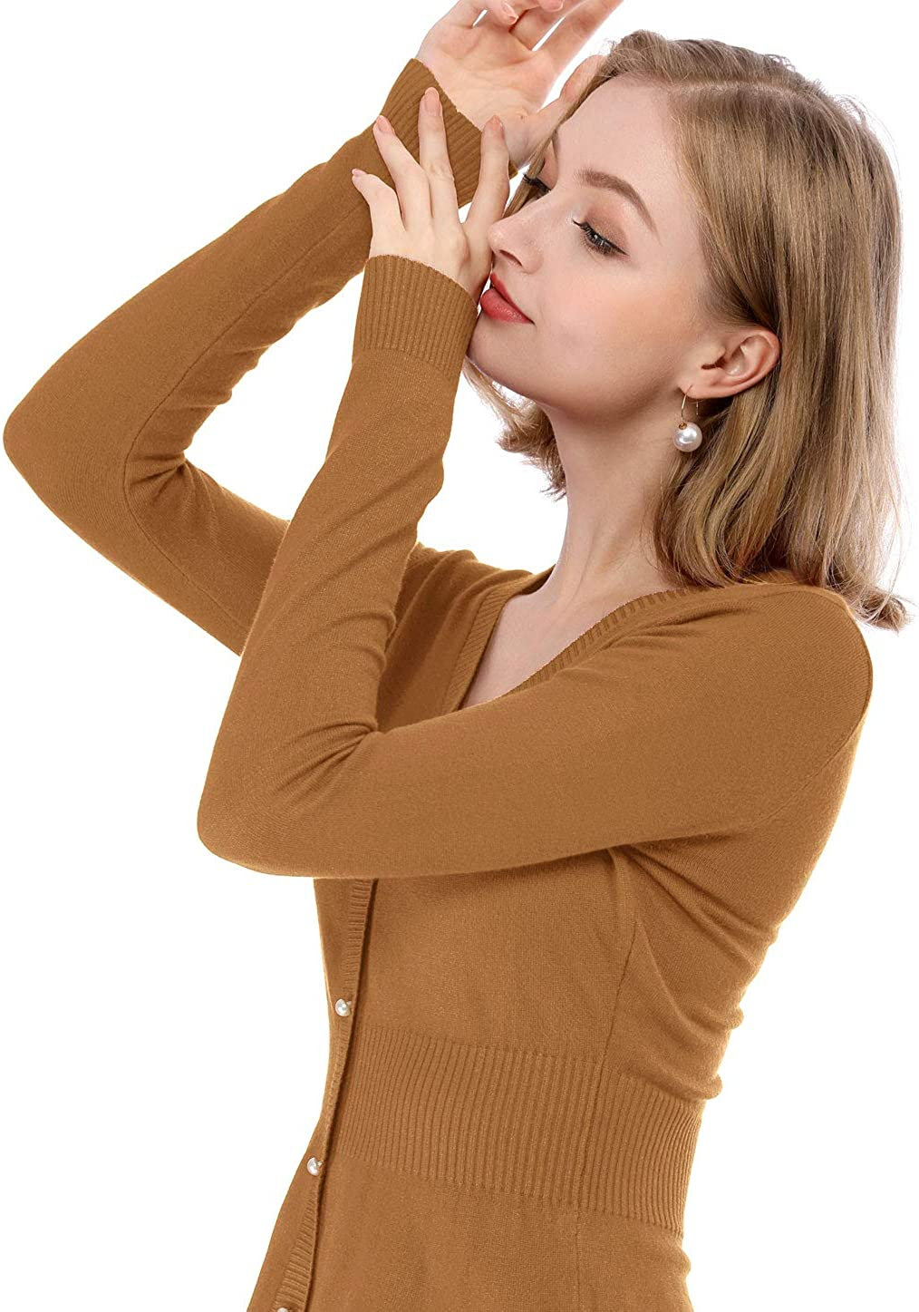 Allegra K Womens Peplum Sweater Smocked Long Sleeve Knit Tops