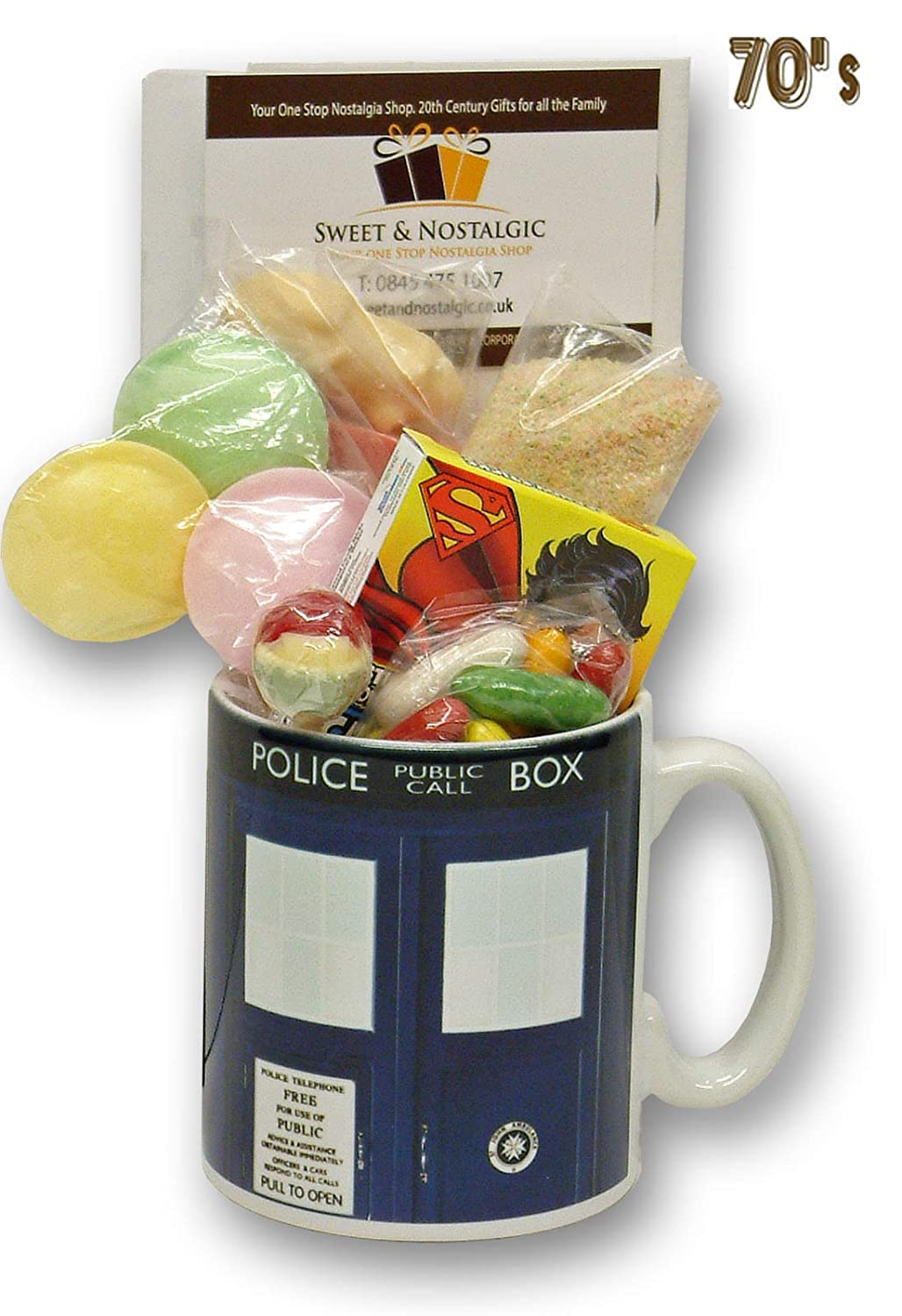 Dr Who Tardis Mug with a Time Travelling Selection of 70's Sweets 630gms
