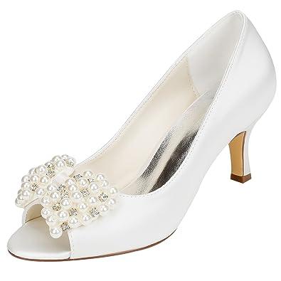 499300c642c Emily Bridal Women s Silk Like Satin Stiletto Heel Pumps with Imitation Pearl  Crystal (EU36
