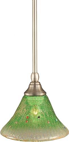 Toltec Lighting 23-BN-753 Stem Mini-Pendant Light Brushed Nickel Finish with Kiwi Green Crystal Glass, 7-Inch