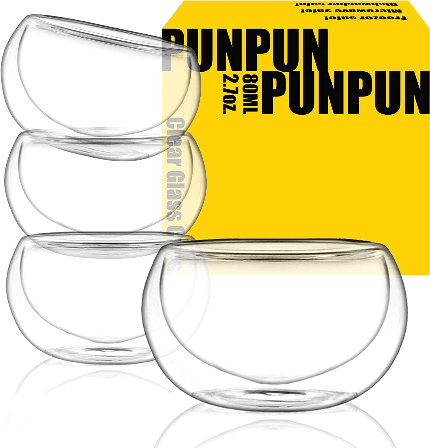 PunPun Tea cups Set of 4-Double Wall Borosilicate Glass-Espresso Cups Set-Heatproof Insulating-Teacups glass-2.7oz. 80ml Demitasse Gift Box-Hand Made-Lead free