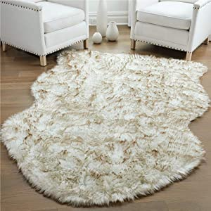 Gorilla Grip Premium Faux Fur Area Rug, 4x6, Fluffy Sheepskin Shag Carpet Accent Rugs for Bedroom and Living Room, Luxury Indoor Home Decor, Bed Side Floor Plush Carpets, Sheepskin, Frosted Tips Brown