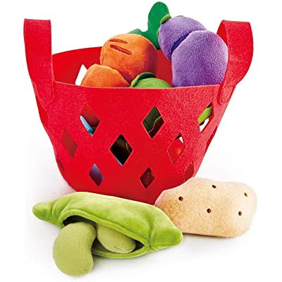 Hape Toddler Vegetable Basket |Soft Vegetable Shopping Basket, Toy Grocery Food Playset Includes Cabbage, Bean Pod, Carrot, and More: Toys & Games [5Bkhe1807090]