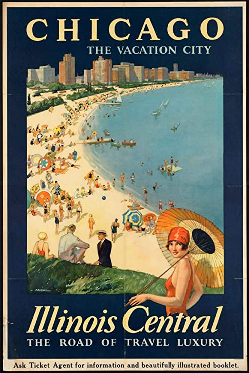 Amazon Com Ezposterprints Vintage Style Travel Poster Series Poster Printing Wall Art Print For Home Office Decor Chicago 24x36 Inches Posters Prints