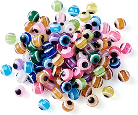 100 Assorted Stripe Round Resin Beads 6mm Mixed Colors