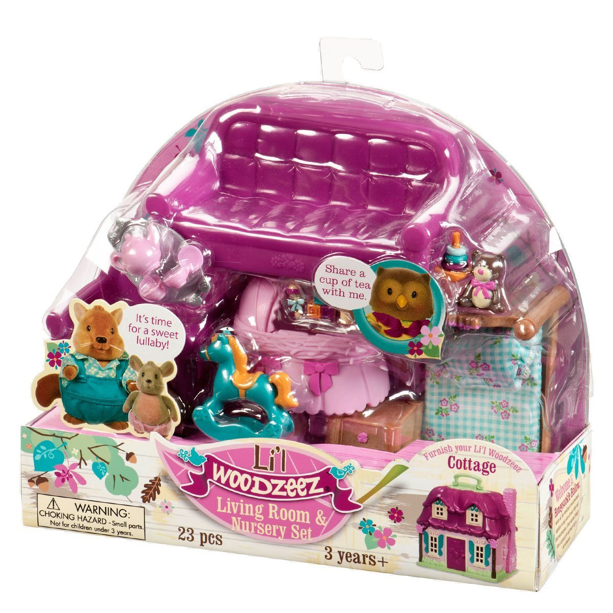 Lil Woodzeez Living Room and Nursery Set - Can Be Used With All Families and Environments - Ages 3+ Li' L Woodzeez 6123M