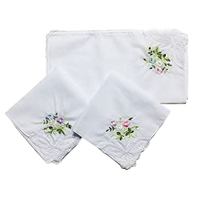 LACS White Cotton Lace Embroidered Ladies Lace Handkerchiefs Pack Hankies