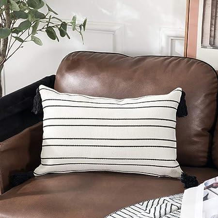 Dark Brown and White Throw Pillow