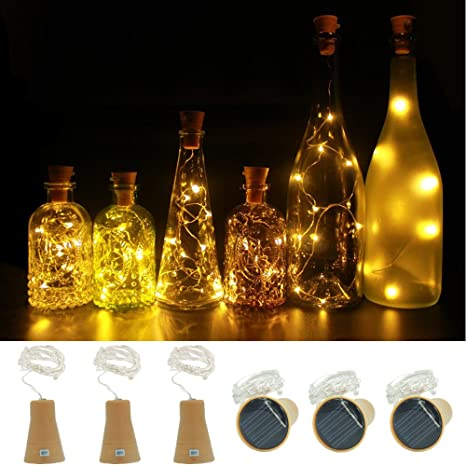 6 piezas Calentar Blanco Funciona con energía solar Vino ...
