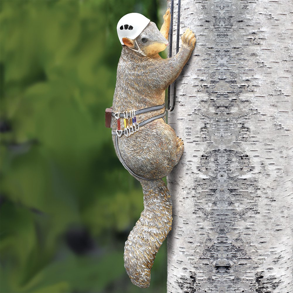 Outdoor Hand Painted Squirrel Tree Climber Sculpture - Fun Garden Statue