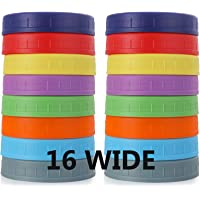 WIDE Mouth Mason Jar Lids [16 Pack] for Ball, Kerr and More - Food Grade Colored Plastic Storage Caps for Mason/Canning…