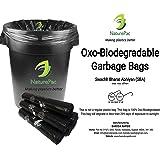 NaturePac Garbage Bags Biodegradable, Medium Size (48cmx56cm), Black, (180 Bags)