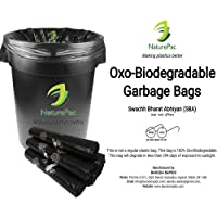 NaturePac Garbage Biodegradable,Tested Trash bag,Small (43cmx51cm), Black (180 Bags)