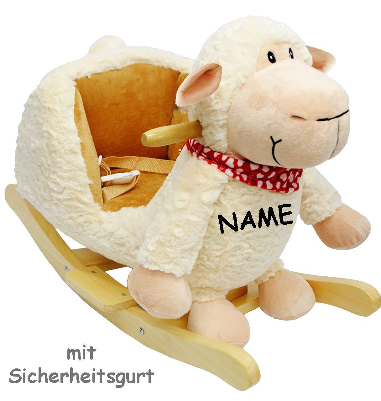 XL Plüsch und Holz Schaukelpferd -  Schäfchen  - incl. Name - mit Einstiegshilfe und Sicherheitsgurt - süßes Schaf - mit Gurt - Schaukelschaf - Schaukeltier mit Plüschbezug & Holz Gestell / für Babys - Kind Schaukel Plüschschaukel für Kinder Mädchen Jungen - Plüsch - Tierschaukel / Haustier - Lamm - Baby - Kippschutz - Schaukelspielzeug - Wippe / Schaukelwippe