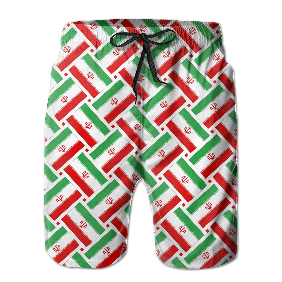 Mens Swim Trunks Iran Flag Weave Quick Dry Beach Board Shorts with Mesh Lining