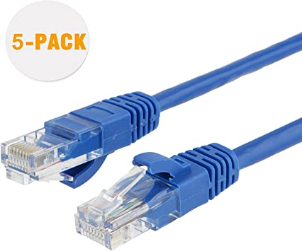 5Ft Cat5e Ethernet RJ45 Lan Wire Network Blue UTP 5 Feet Patch Cable 5 Pack
