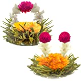 Teabloom Blooming Tea Flowers - Litchi & Peach Flowering Teas – Hand-Tied Flowering Tea Balls - Each Tea Blossom Can Be Used Multiple Times (2-Pack)