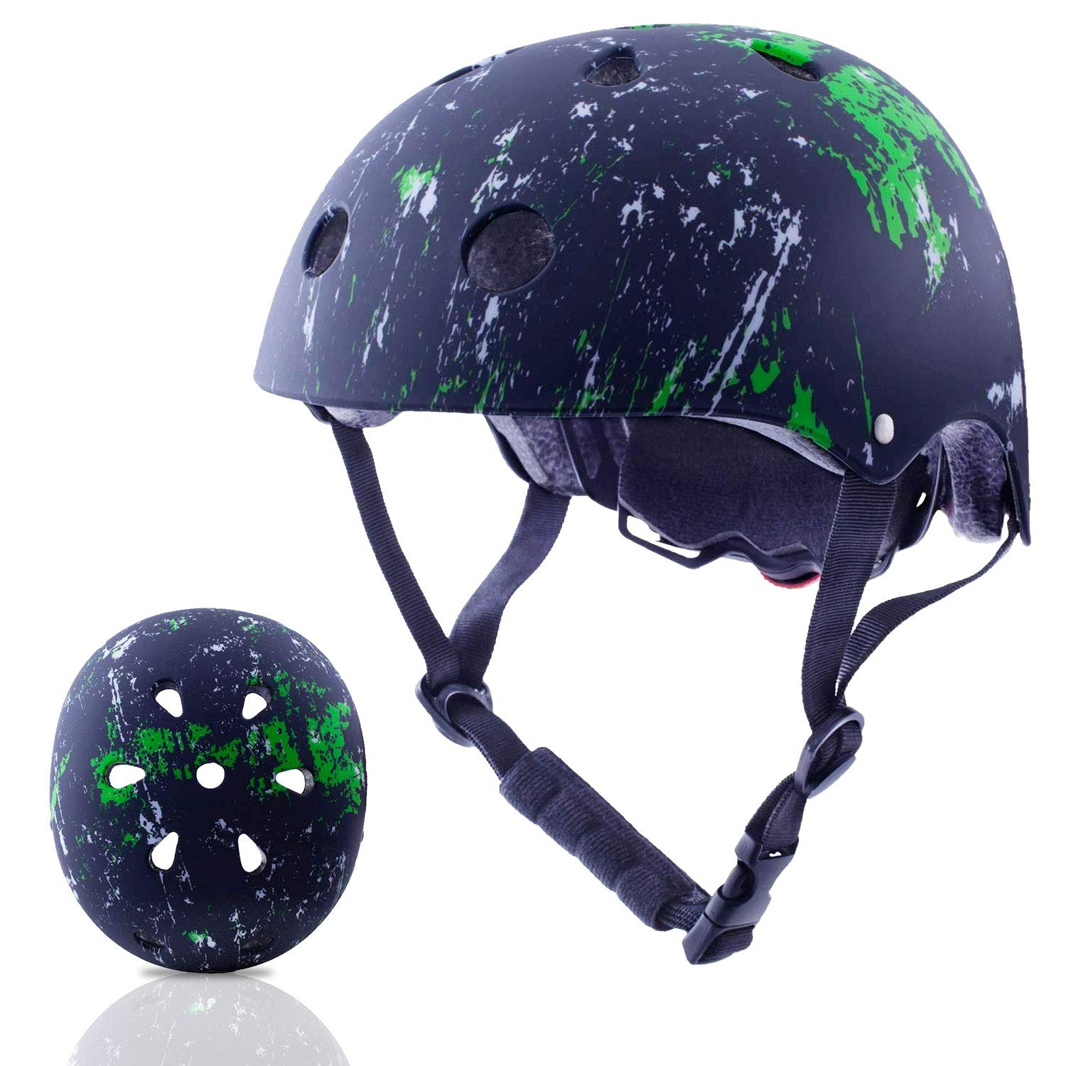 Exclusky Kids Helmets Adjustable CE CPSC Certified Sports Child Helmet for Bike Cycling/Scooter/BMX/Skating - Ages 5+ (Black)
