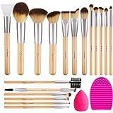 BESTOPE Makeup Brushes 17Pcs Bamboo Handle Makeup Brush Set with 1 Pcs Silicone Face Mask Brush&1 Makeup Sponge&1 Brush Clean