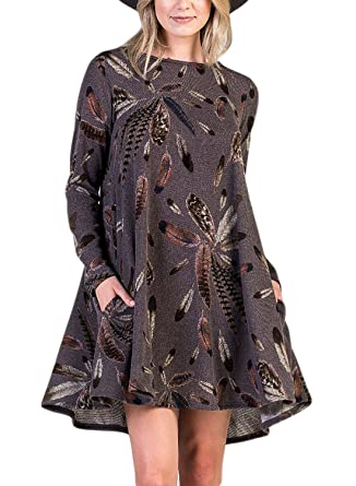 7f605d8e3b8af9 TOUVIE Damen Langarm Tasche Casual Loose T-Shirt Kleid A-Linie Tunika Mini  Kleid