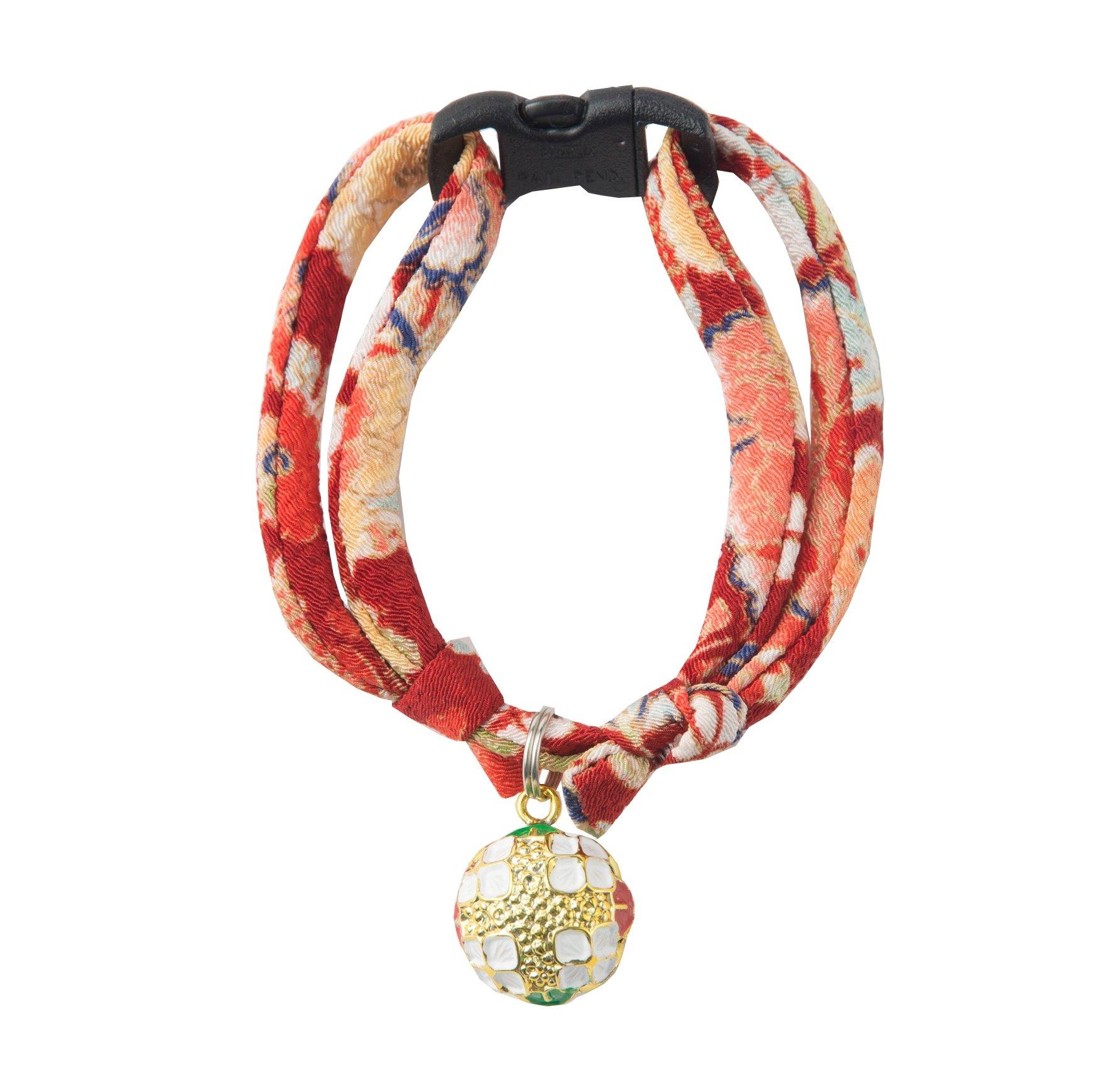 Necoichi Chirimen Temari Dynasty Cat Collar (Red)