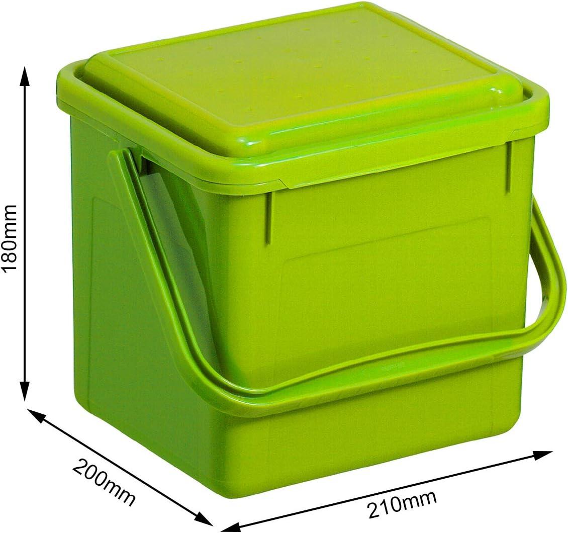 Rotho Bio Komposteimer 19l mit Deckel für die Küche, Kunststoff (PP)  BPA-frei, grün, 19l (19,19 x 219,19 x 19,19 cm)