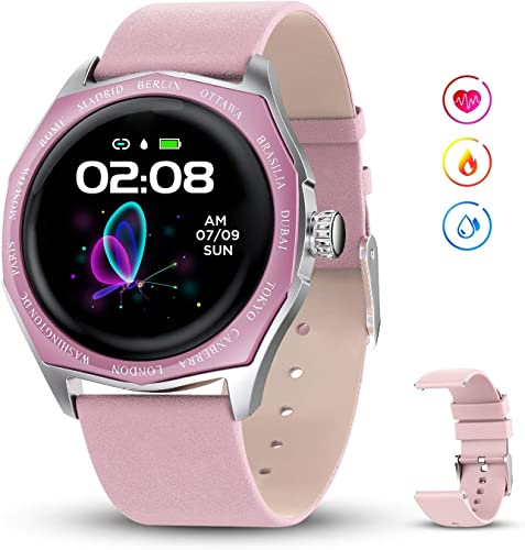 GOKOO Smart Watch for Women with Female Physiological Reminder Heart Rate Blood Pressure Sleep Monitor Fitness Activity Tracker Notifications Camera Control Calories Step Waterproof Pedometer Pink