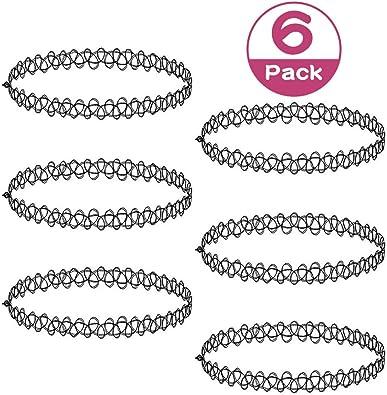 12pcs Pack of BLACK plastic tattoo style stretch chokers henna 1st class post