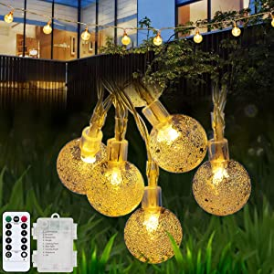 Battery Operated Globe String Lights, Waterproof 26ft 60 Crystal Ball Outdoor String Lights, 8 Modes Christmas Decorative Hanging Lights with Timer for Garden Patio Balcony Party Decor, Warm White
