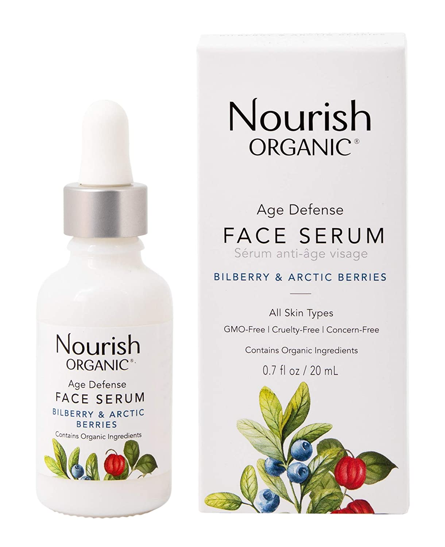 Nourish Organic | Age Defense Face Serum | GMO-Free, Cruelty Free, Fragrance Free (0.7oz)