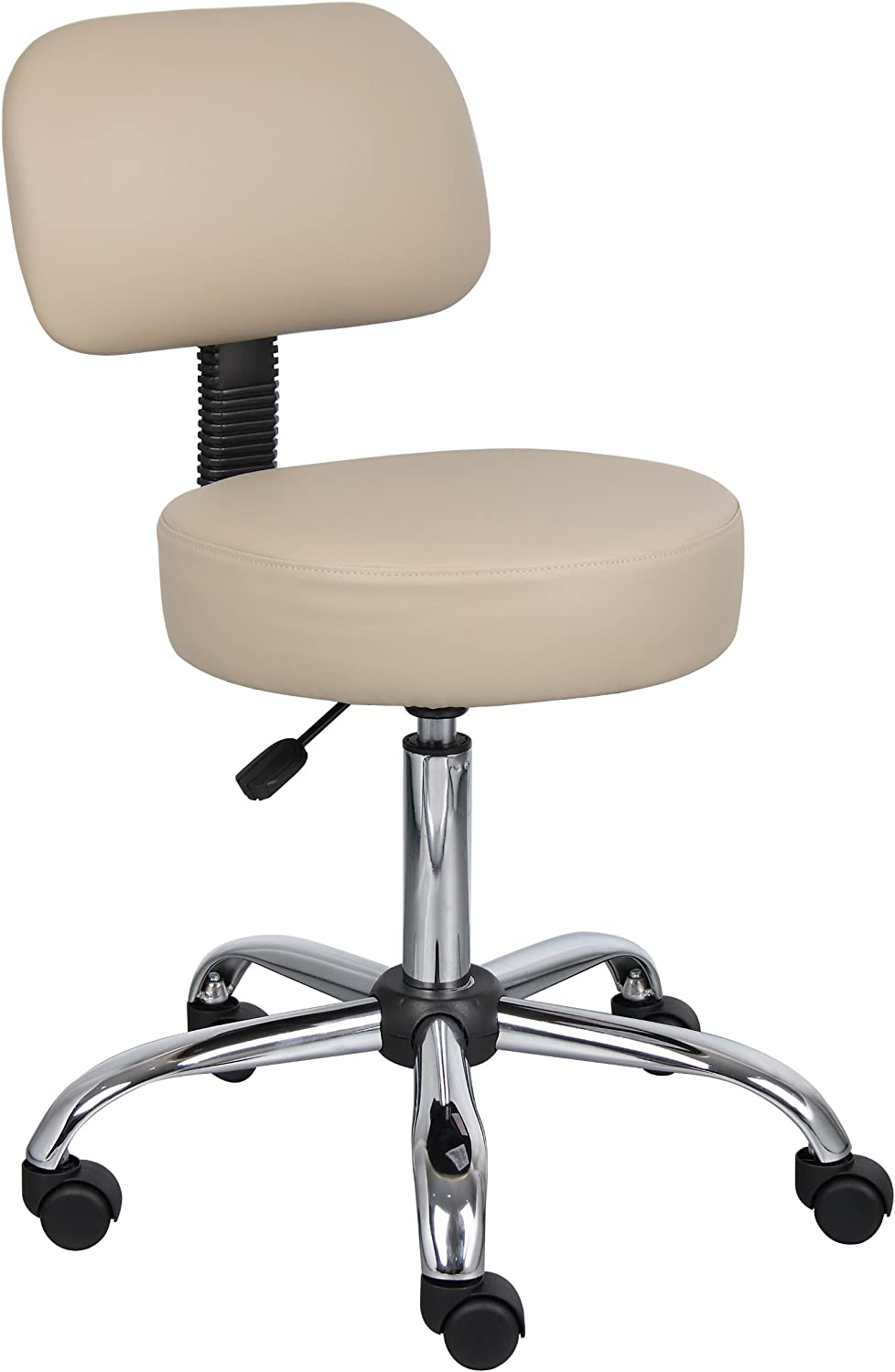 Boss Office Products B245-BG Be Well Medical Spa Stool with Back in Beige Renewed