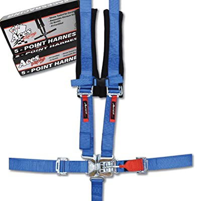 Aces Racing 5 Point Harness with 2 Inch Padding E4 Certified (Blue): Automotive