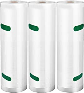 "VSADEY Vacuum Sealer Bags Rolls 3 Pack 8""x20' for Food Saver, BPA Free, Heavy Duty Vacuum Storage Bags for Sous Vide Cooking, Freezer and All Vacuum Sealer Machines, Puncture Prevention"