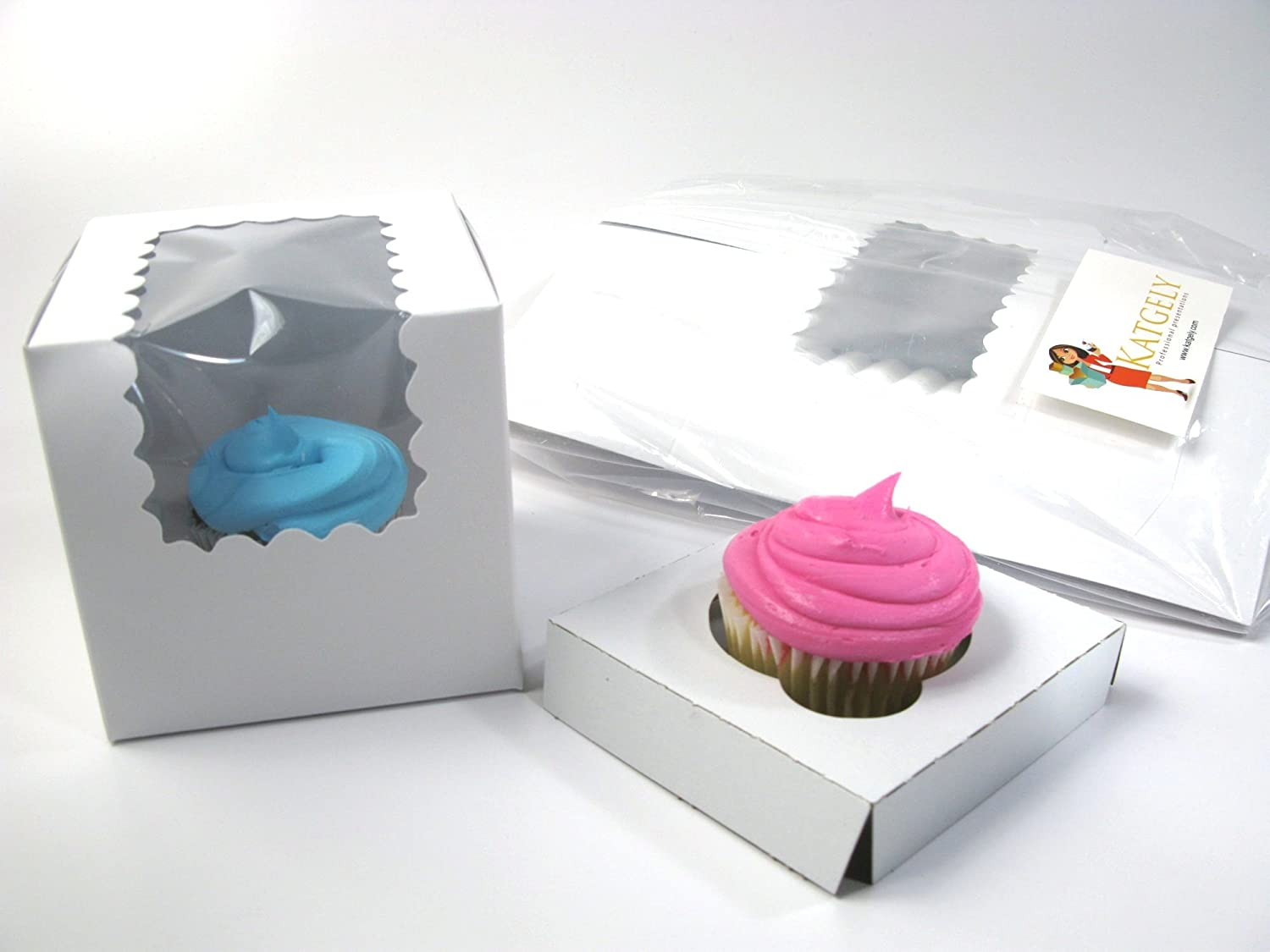 Amazon.com: Katgely Individual Cupcake Boxes with Insert, Pack of 20 ...