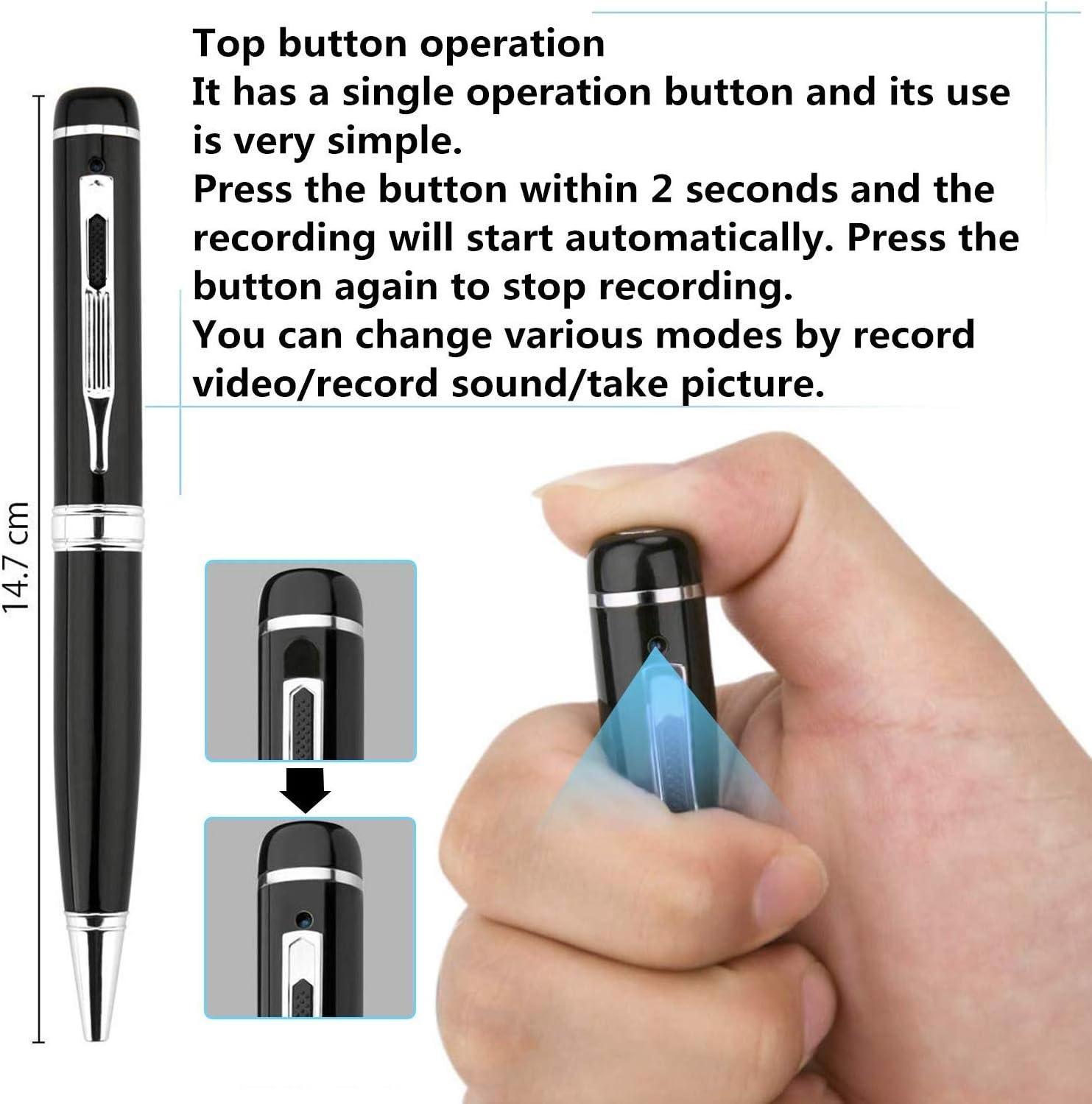 kostenlose 16 GB Micro SD eingebaut und Micro SD Reader /& 5 Tinte f/üllt Inc Versteckte Stift Kamera 1080p Real HD Cover Objektiv Pen Cam Voice und Bild Executive Multifunktions-DVR MEHRWEG