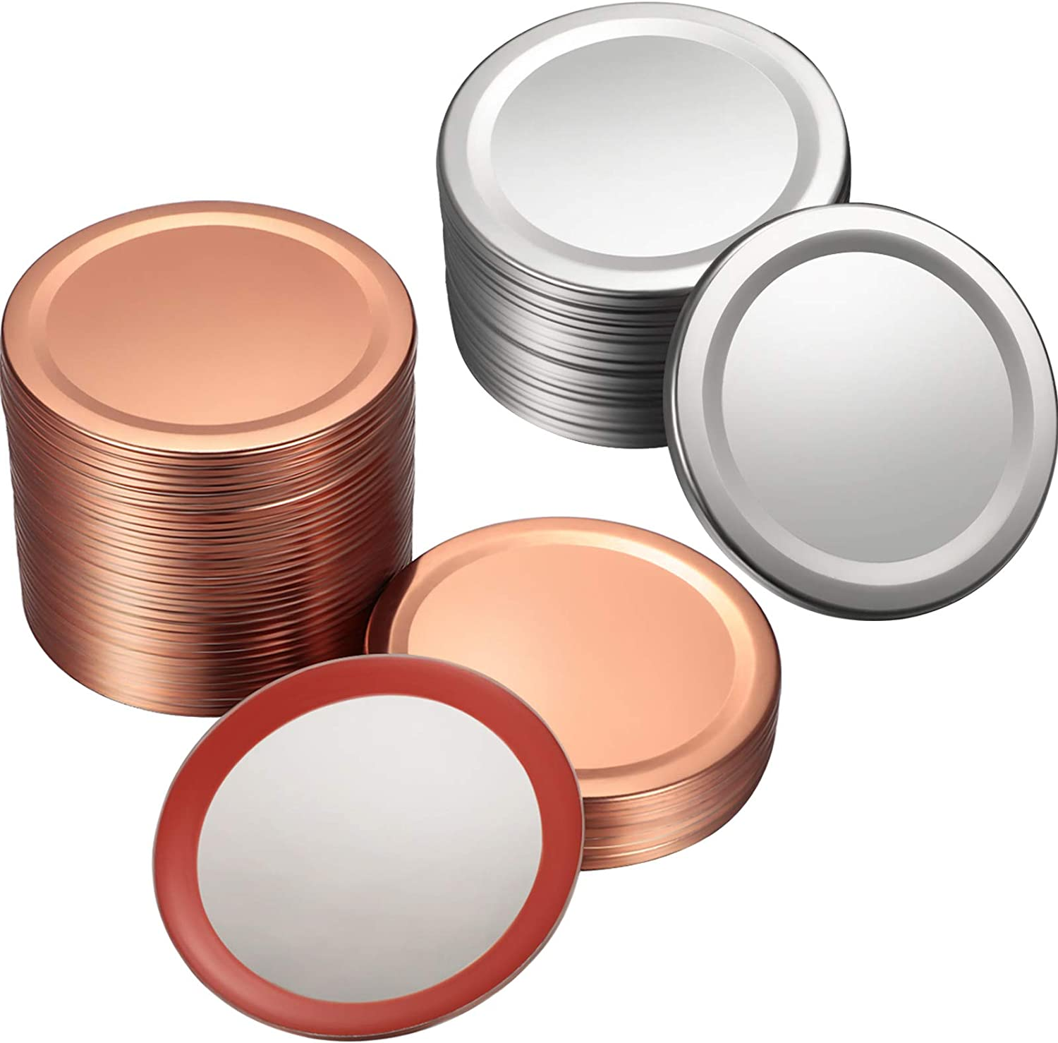 80 Pieces Regular Mouth Canning Lids Regular Mouth Ball Jar Lids Split-Type Lids Secure Canning Jar Caps Compatible with Mason Jars, 70 mm (Silver, Rose Gold)