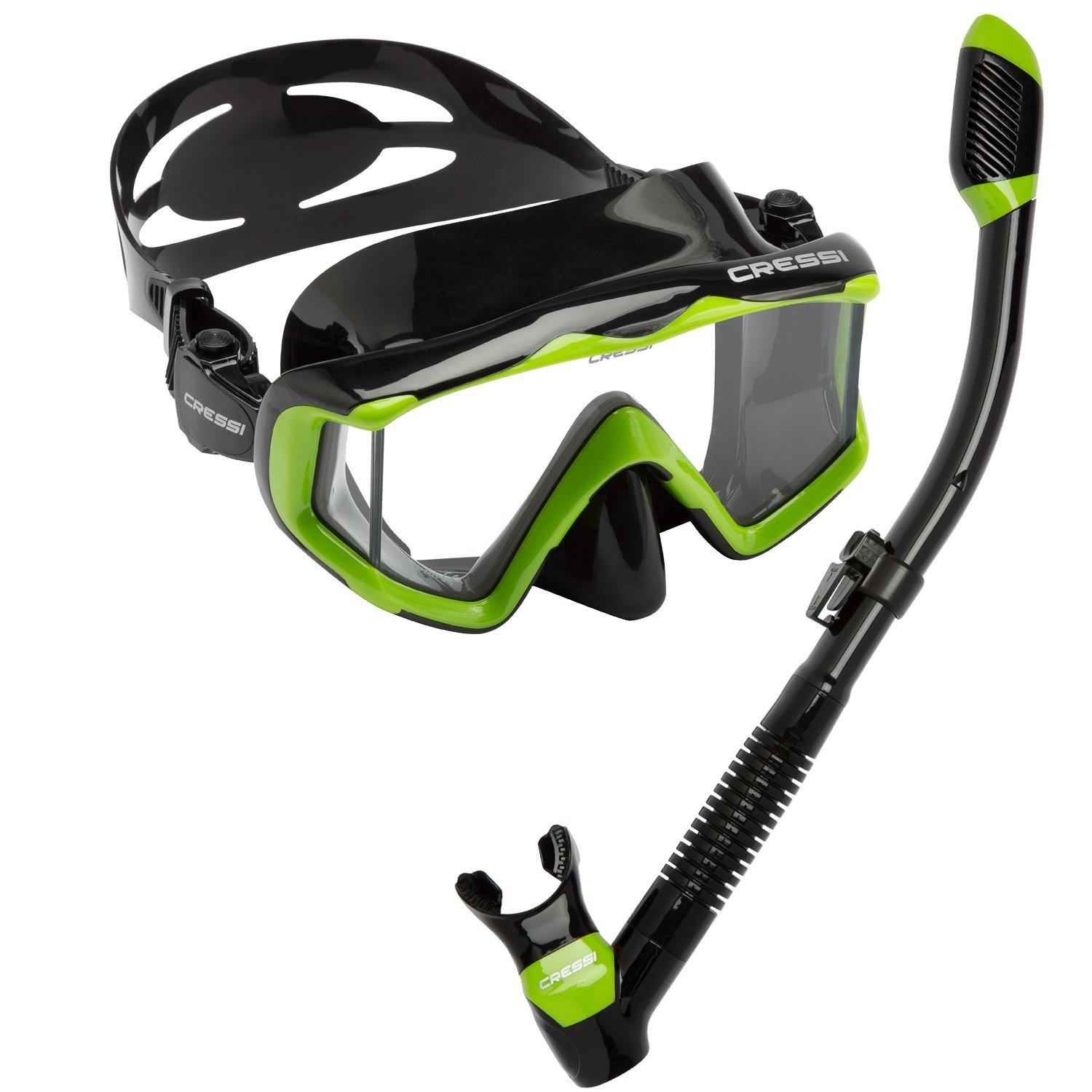 Cressi Panoramic Wide View Mask Dry Snorkel Set, Lime Green/Black Silicone