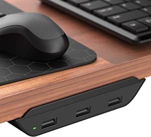 Galvanox 3 Port USB Desktop Charger (Edge Mounted) PowerRail Charging Station Compatible with All Phones and Tablets - 24W Power Hub Adapter (Designed for Desks, Tables and Nightstands)