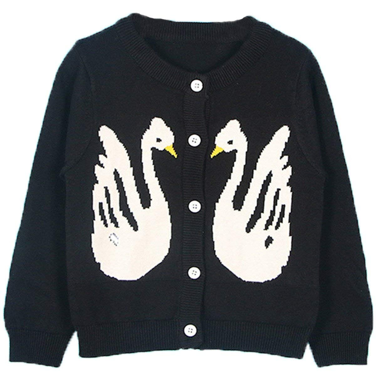 Maylife Little Girls Crew Neck Button-Down Swan Print Fine Knit Cardigan Sweaters by Maylife (Image #1)